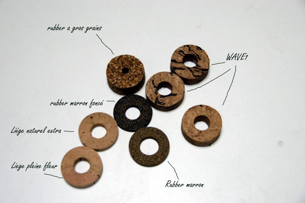 Les disques de liège utilisés dans mes fabrications de poignée liège pour la carpe